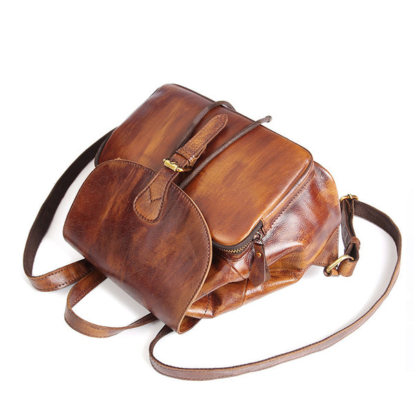 Womens Small Brown Leather Backpack Cute Backpacks for Women Accessories