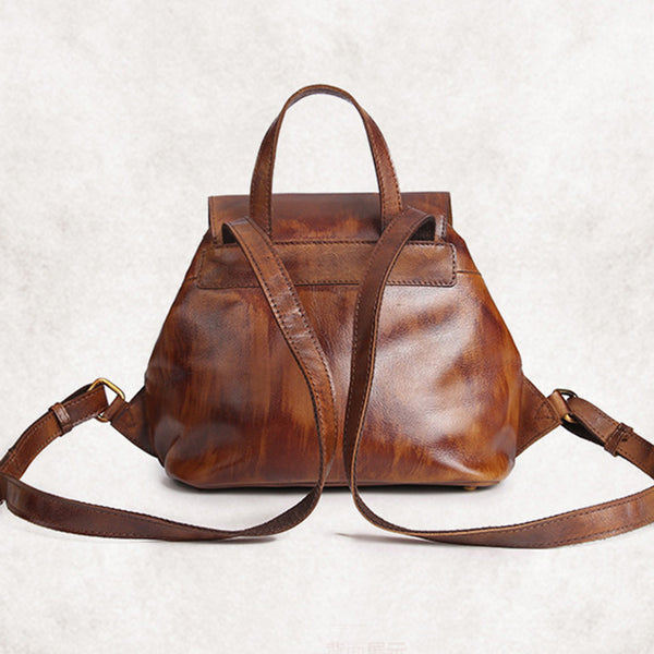 Womens Small Brown Leather Backpack Cute Backpacks for Women Boutique