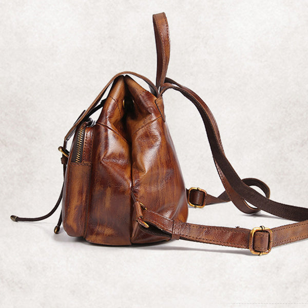 Womens Small Brown Leather Backpack Cute Backpacks for Women Brown