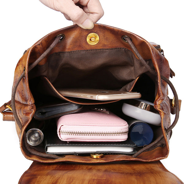 Womens Small Brown Leather Backpack Cute Backpacks for Women beautiful