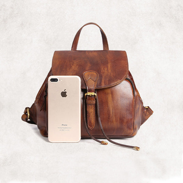 Womens Small Brown Leather Backpack Cute Backpacks for Women cool