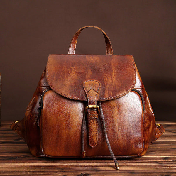Womens Small Brown Leather Backpack Cute Backpacks for Women designer