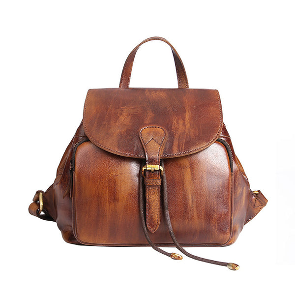 Womens Small Brown Leather Backpack Cute Backpacks for Women