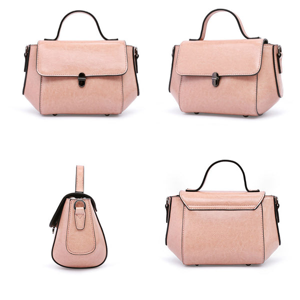 Womens Small Leather Crossbody Bags Leather Shoulder Bag Purses for Women Satchel bag mini pink