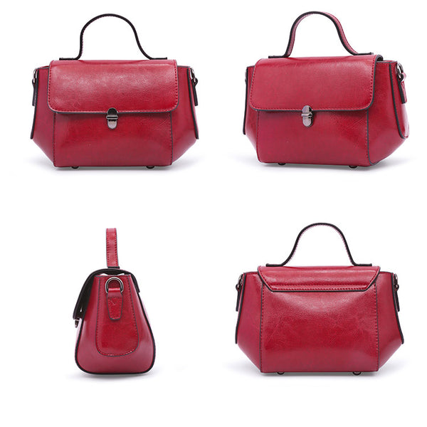 Womens Small Leather Crossbody Bags Leather Shoulder Bag Purses for Women Satchel bag mini red