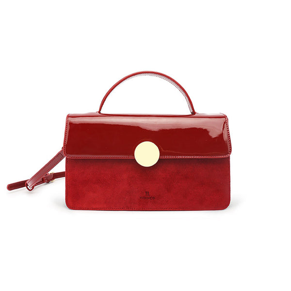 Womens Small Leather Satchel Bag Red Leather Crossbody Bags for Women chic