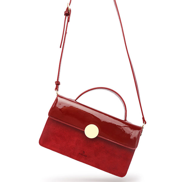 Womens Small Leather Satchel Bag Red Leather Crossbody Bags for Women cute