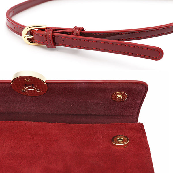 Womens Small Leather Satchel Bag Red Leather Crossbody Bags for Women fashion