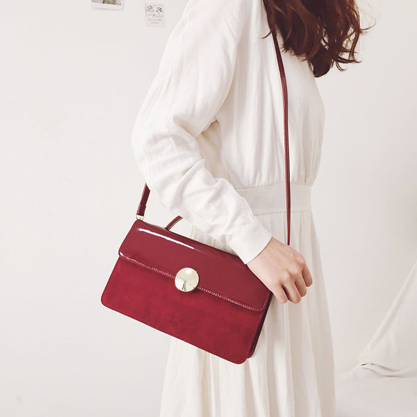 Womens Small Leather Satchel Bag Red Leather Crossbody Bags for Women