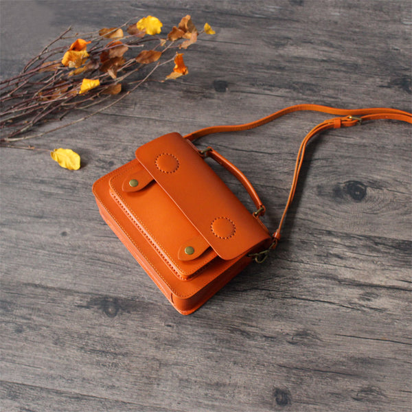 Womens Small Leather Satchel Messenger Bags Square Crossbody Bag Purse for Women cool