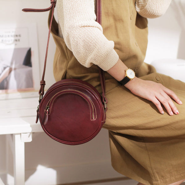 Womens Small Red Leather Circle Crossbody Purse Over The Shoulder Bag For Women Affordable