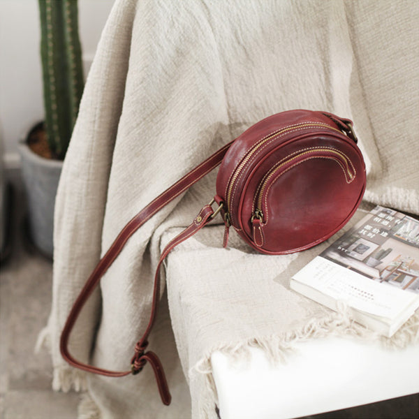 Womens Small Red Leather Circle Crossbody Purse Over The Shoulder Bag For Women Beautiful