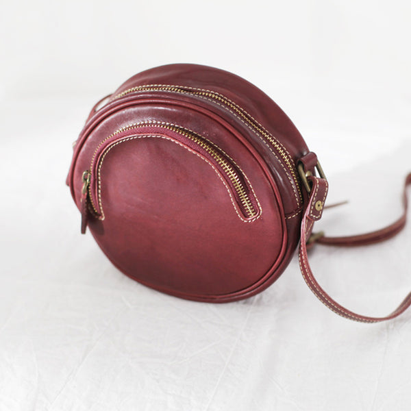 Womens Small Red Leather Circle Crossbody Purse Over The Shoulder Bag For Women Cute