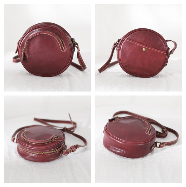 Womens Small Red Leather Circle Crossbody Purse Over The Shoulder Bag For Women Details