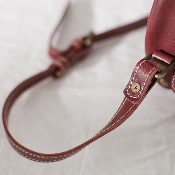 Womens Small Red Leather Circle Crossbody Purse Over The Shoulder Bag For Women Fashion