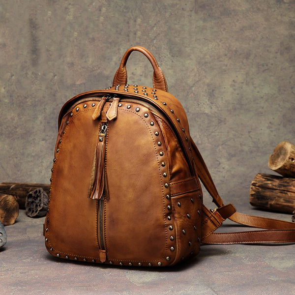 Womens Small Rivets Brown Leather Backpack Bag Purse Cool backpacks for Women Affordable