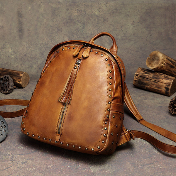 Womens Small Rivets Brown Leather Backpack Bag Purse Cool backpacks for Women Beautiful