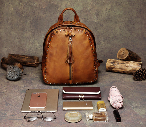 Womens Small Rivets Brown Leather Backpack Bag Purse Cool backpacks for Women Chic