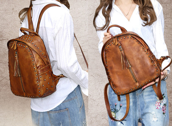 Womens Small Rivets Brown Leather Backpack Bag Purse Cool backpacks for Women Cute