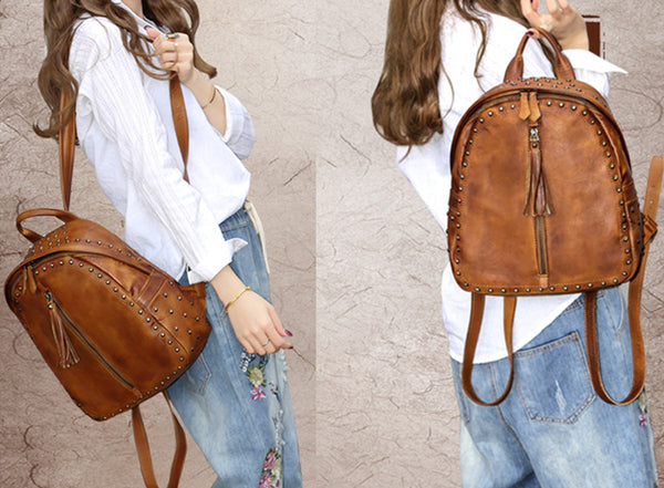 Womens Small Rivets Brown Leather Backpack Bag Purse Cool backpacks for Women Designer