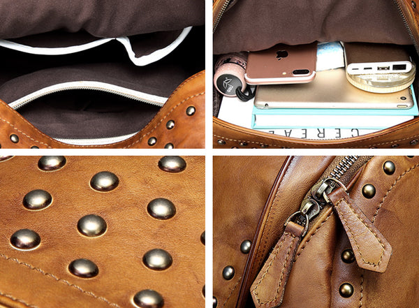 Womens Small Rivets Brown Leather Backpack Bag Purse Cool backpacks for Women Details