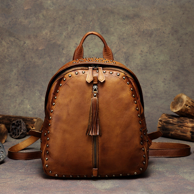 Womens Small Rivets Brown Leather Backpack Bag Purse Cool backpacks for Women