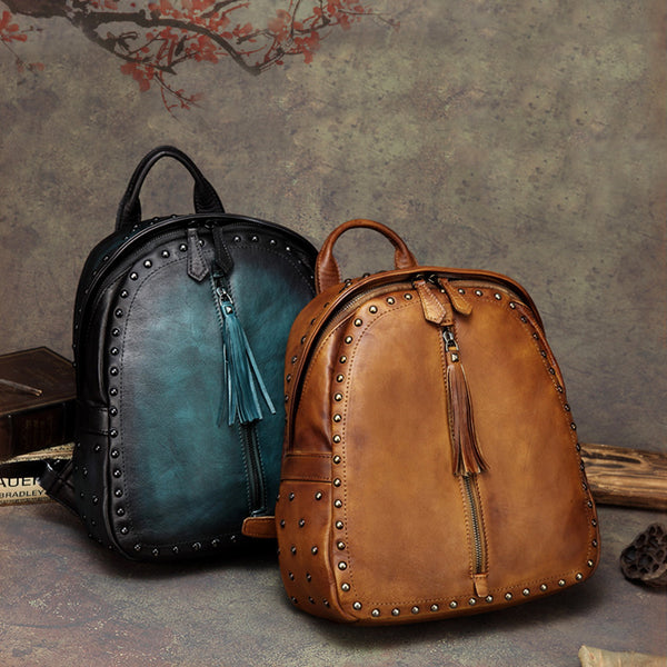 Womens Small Rivets Brown Leather Backpack Bag Purse Cool backpacks