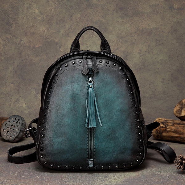 Womens Small Rivets Brown Leather Backpack Bag Purse