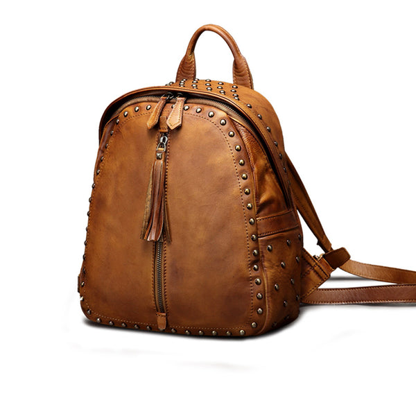Womens Small Rivets Brown Leather Backpack Bag