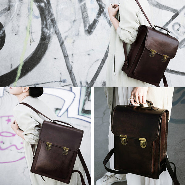 Womens Square Leather Fashion Backpack Trendy Backpacks Book Bag Purse for Women Durable
