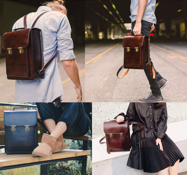 Womens Square Leather Fashion Backpack Trendy Backpacks Book Bag Purse for Women