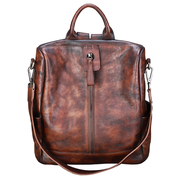 Womens Genuine Leather Rucksack Backpack Cross Shoulder Bag for Women Affordable