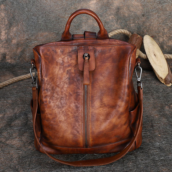 Womens Genuine Leather Rucksack Backpack Cross Shoulder Bag for Women Beautiful