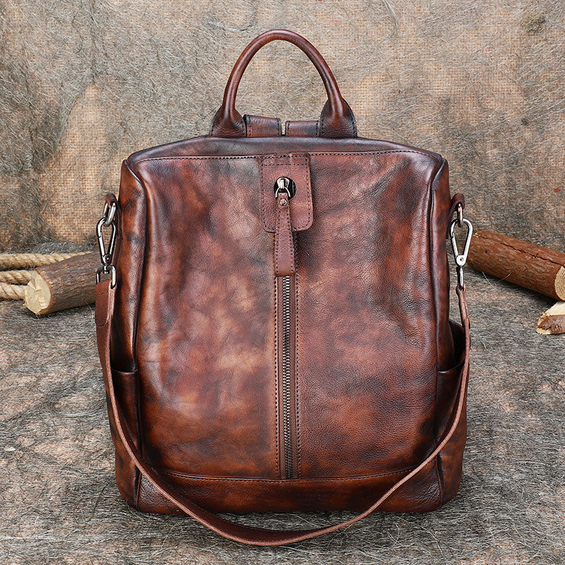 Womens Genuine Leather Rucksack Backpack Cross Shoulder Bag for Women Chic