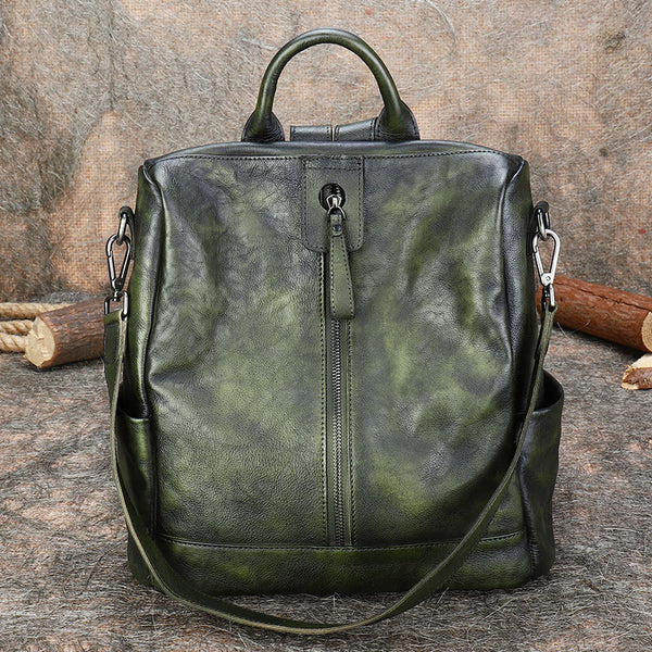 Womens Genuine Leather Rucksack Backpack Cross Shoulder Bag for Women Cool