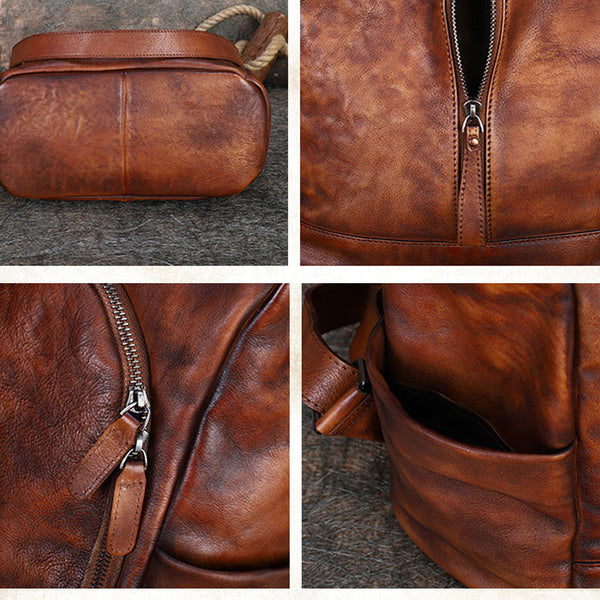 Womens Genuine Leather Rucksack Backpack Cross Shoulder Bag for Women Cowhide