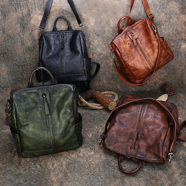 Womens Genuine Leather Rucksack Backpack Cross Shoulder Bag for Women Cute