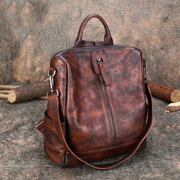 Womens Genuine Leather Rucksack Backpack Cross Shoulder Bag for Women Genuine-Leather