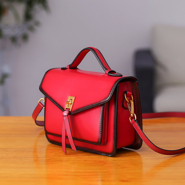 Womens Square Leather Satchel Bags Purses Handbags for Women Boutique