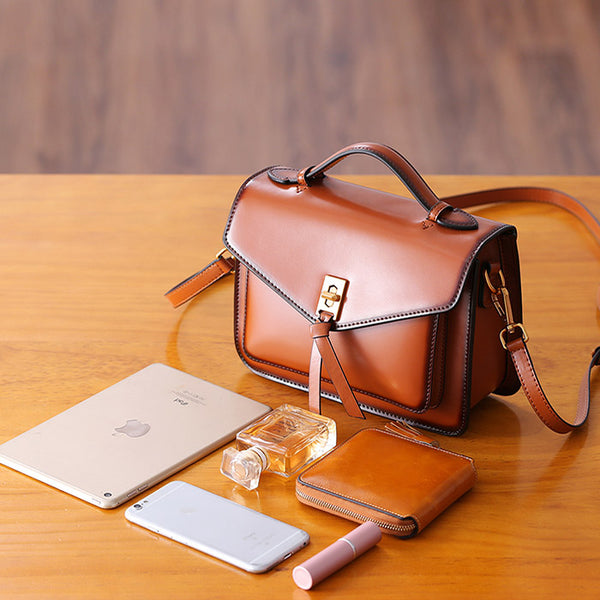 Womens Square Leather Satchel Bags Purses Handbags for Women Brown
