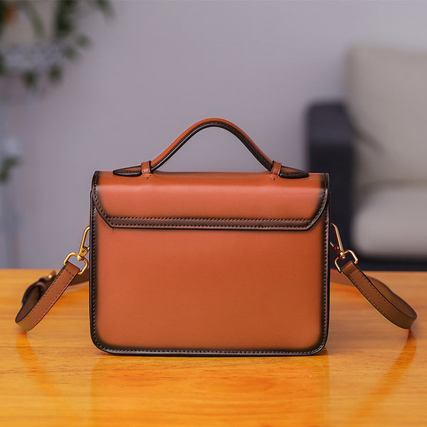 Womens Square Leather Satchel Bags Purses Handbags for Women Chic