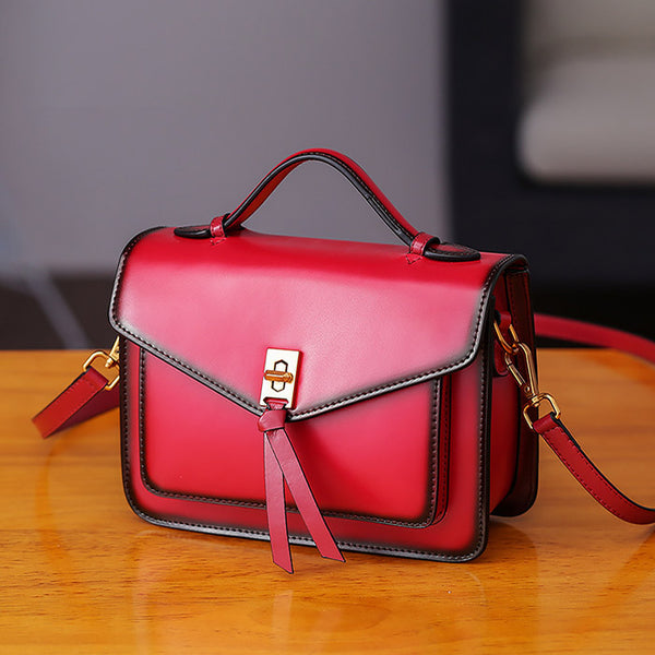 Womens Square Leather Satchel Bags Purses Handbags for Women Designer