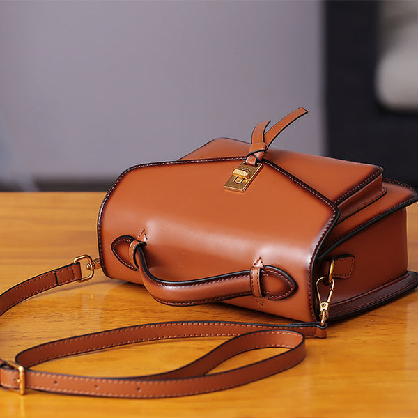 Womens Square Leather Satchel Bags Purses Handbags for Women Details