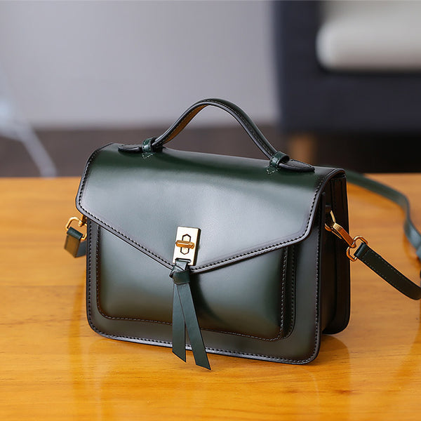 Womens Square Leather Satchel Bags Purses Handbags for Women Handmade