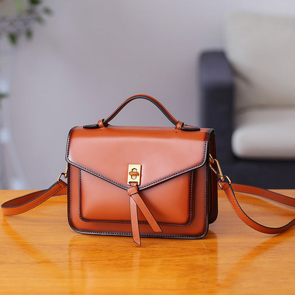 Womens Square Leather Satchel Bags Purses Handbags for Women beautiful