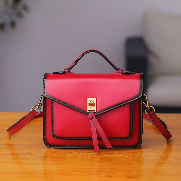 Womens Square Leather Satchel Bags Purses Handbags for Women cute