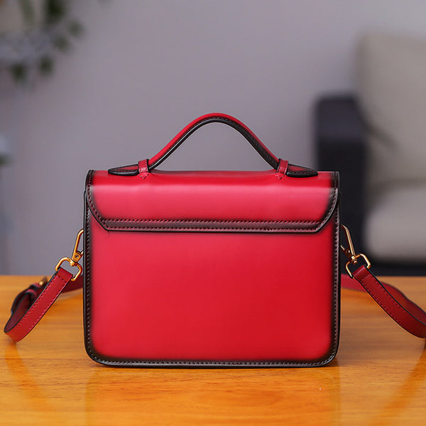Womens Square Leather Satchel Bags Purses Handbags for Women fashion