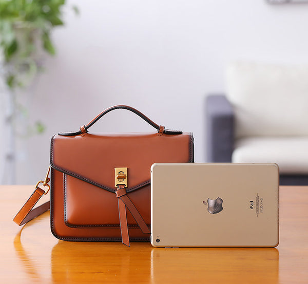 Womens Square Leather Satchel Bags Purses Handbags for Women work bag