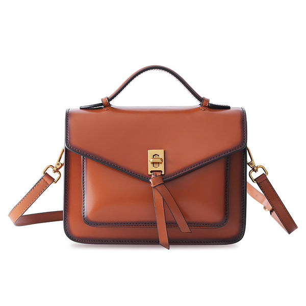Womens Square Leather Satchel Bags Purses Handbags for Women