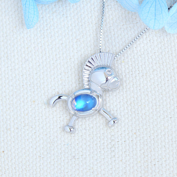 Womens Sterling Silver Moonstone Pendant Necklace Birthstone Necklace For Women Cute